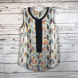 CAbi sleeveless floral Top multi print M